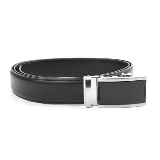 Tour Gear Custom Fit Ratchet Belt Black with Satin Black & Silver Buckle