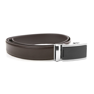 Tour Gear Custom Fit Ratchet Belt Brown with Satin Black & Silver Buckle