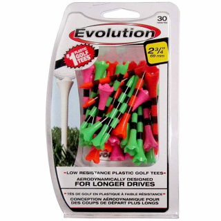 "Pride Evolution Striped Plastic 2-3/4"" Golf Tees - 30 Pack"